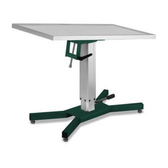 Tavolo operatorio con base a X e colonna idraulica